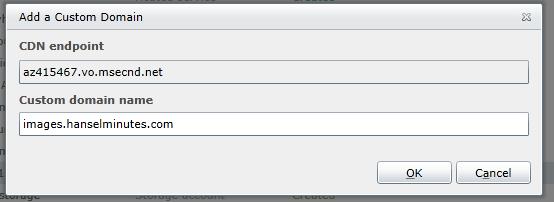 Associating my custom domain with my new CDN endpoint