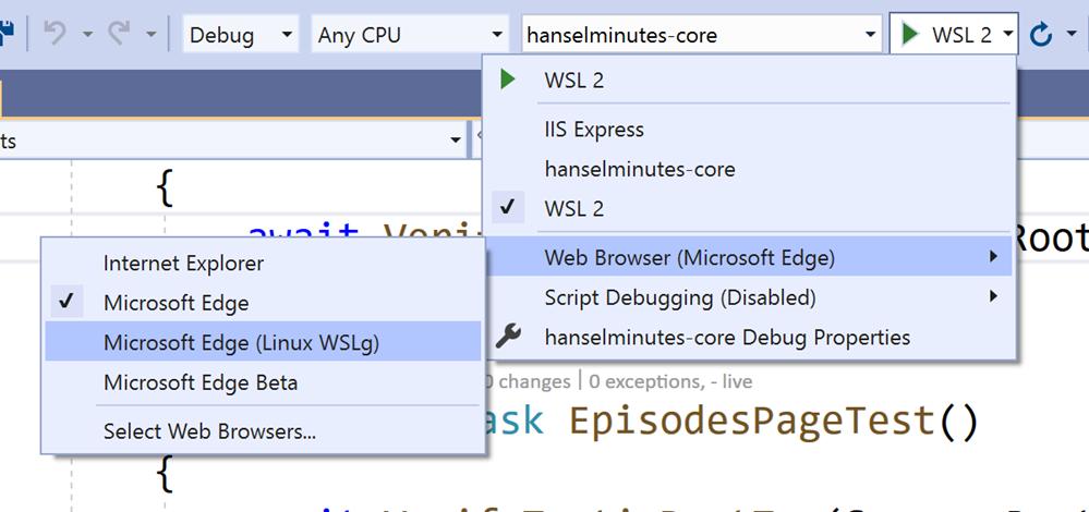 Microsoft Edge under WSLg under Ubuntu