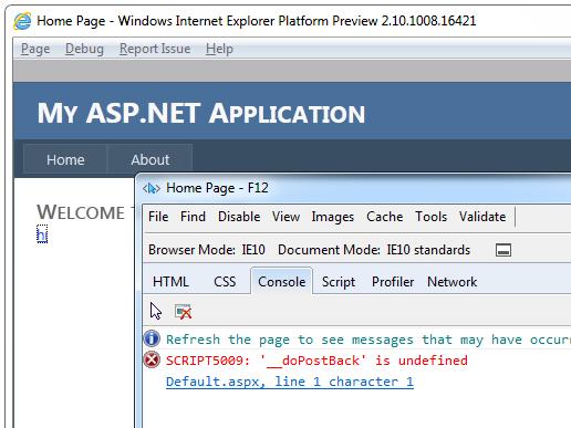 __doPostBack error in IE10