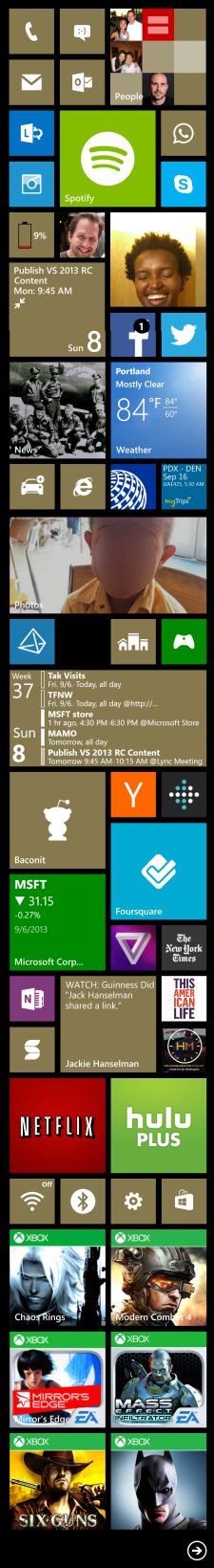 My current Lumia 1010 tile layout