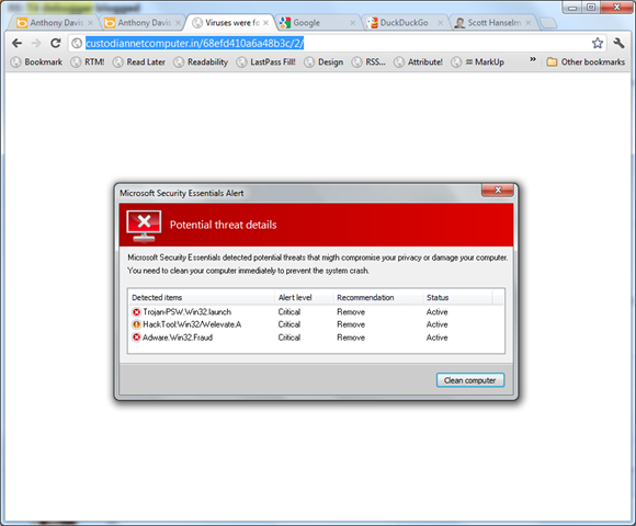A very scary fake virus popup