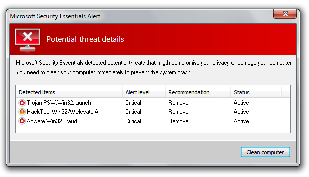 A scary fake virus popup