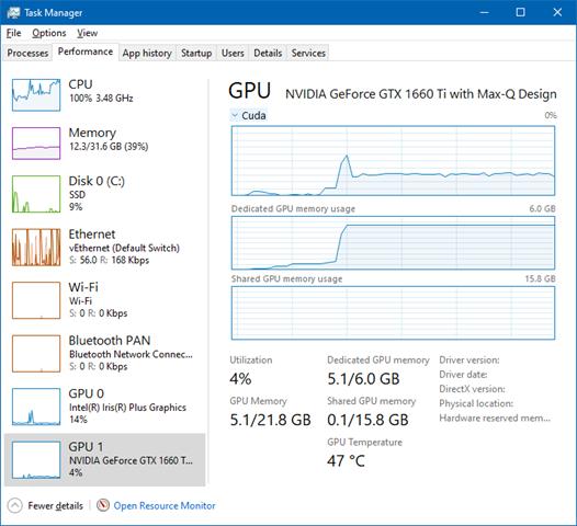 NVidia CUDA engine is engaged