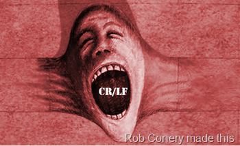 """An image of a screaming face from Pink Floyd's """"The Wall"""" album, coming out of a wall as if the wall were elastic, with the characters CR/LF in its mouth"""