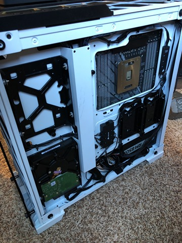 The backside of the clear white corsair case