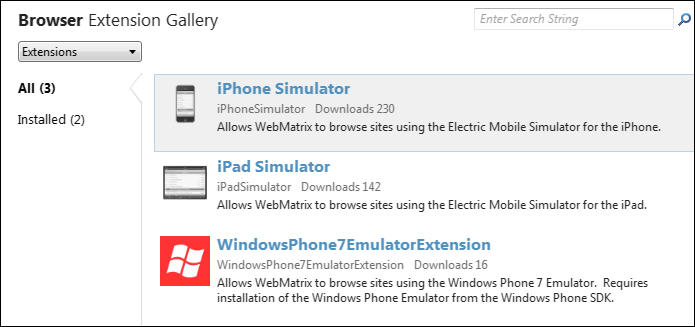 New Mobile emulators in WebMatrix 2 include iPhone