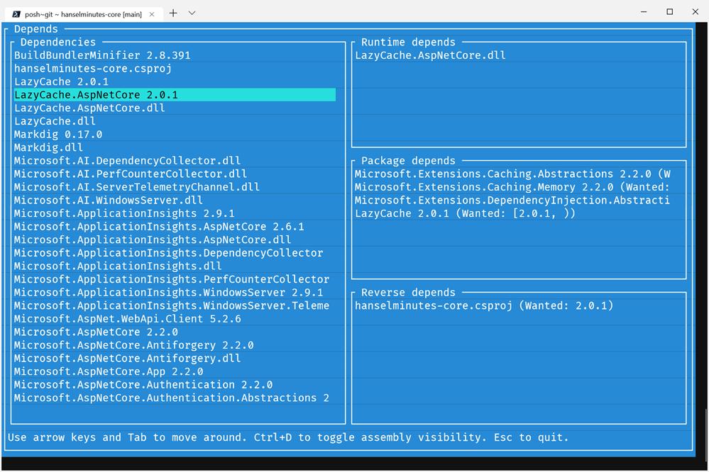 dotnet depends in the Windows Terminal