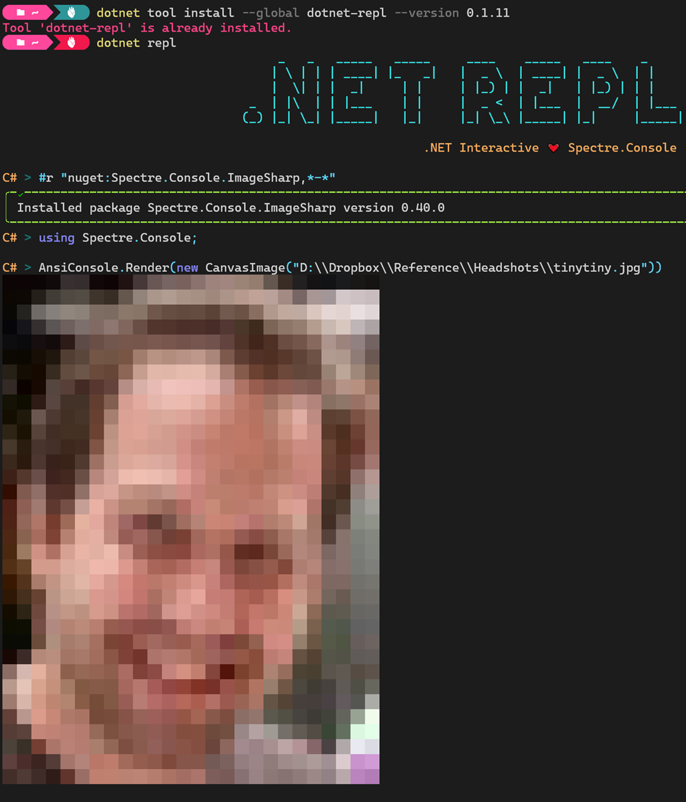 Rendering ANSI pictures in .NET REPL