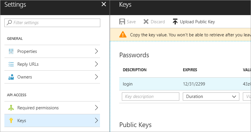Adding a Key to the App Registration