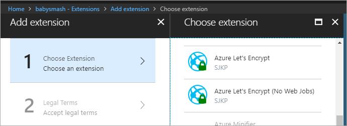 Adding the Let's Encrypt App Service Extension