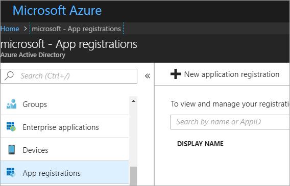 Add a new App Registration in the Azure Portal