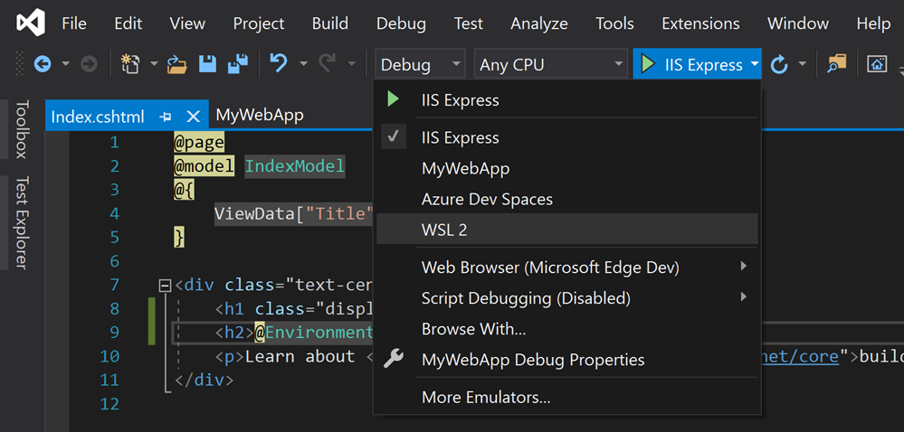 WSL2 in Visual Studio