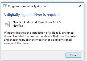 NDI Virtual Cam Digitally Signed Driver Error