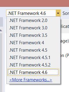 The full range of .NET 2.0 through 4.6 in Visual Studio 2015