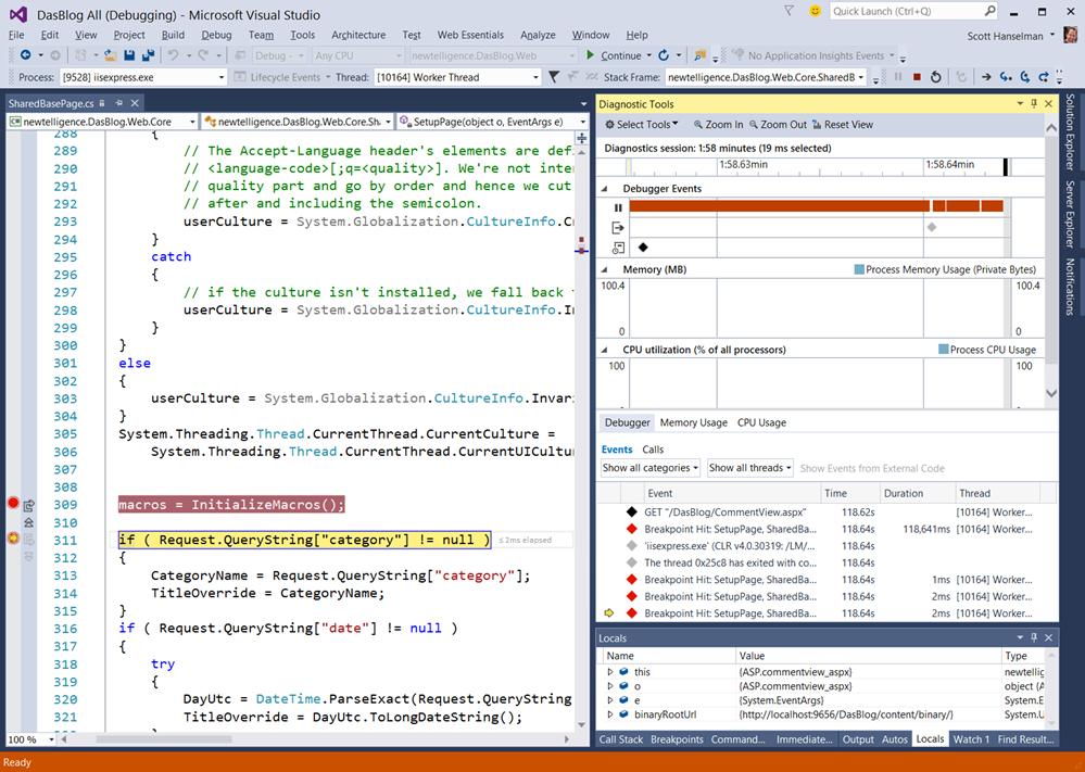 Diagnostics Tools in Visual Studio 2015