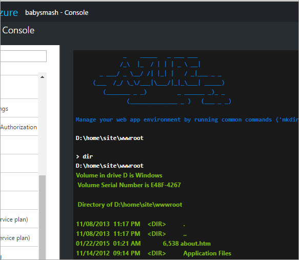 Live HTML5 Console within the Azure Portal