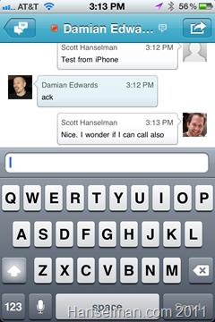 The Microsoft Lync iPhone Application - Chats