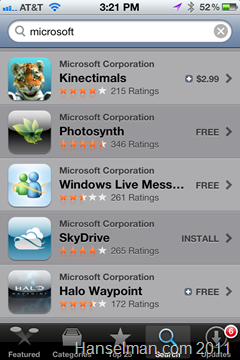 Lots of Microsoft apps in the Apple Marketplace