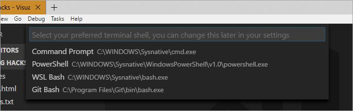 Select Default Shell in Visual Studio Code