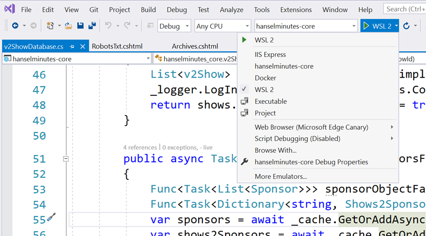 WSL 2 in the Visual Studio Debugging Menu