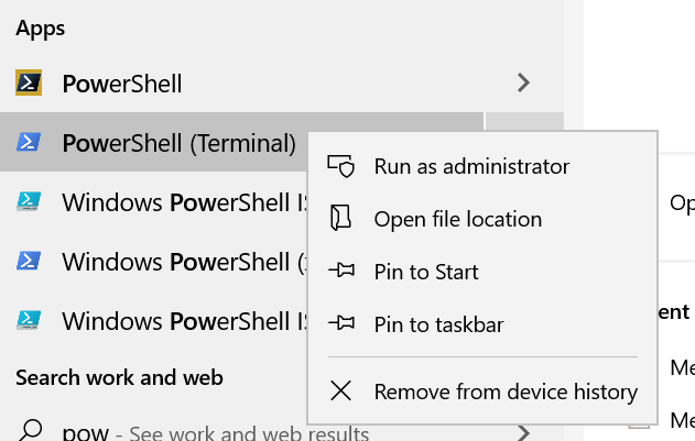 PowerShell in the Start Menu
