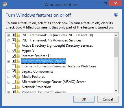 Turn on IIS in Windows Features