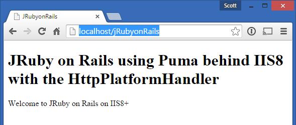 JRuby on Rails using Puma with the HttpPlatformHandler