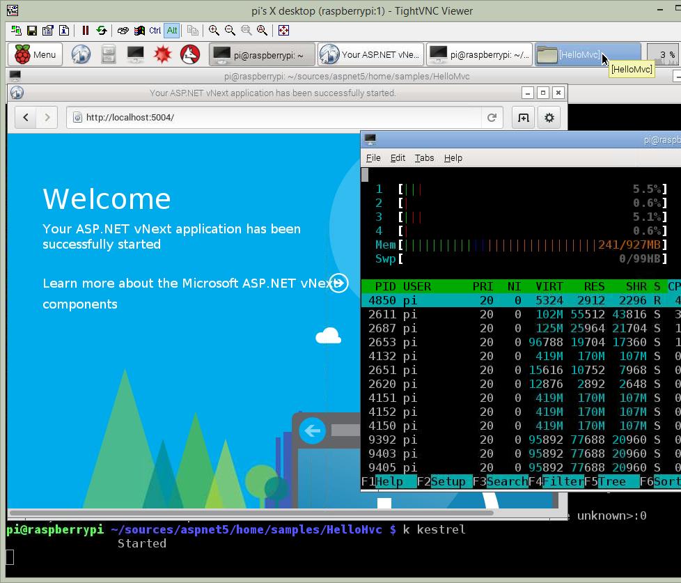 ASP.NET 5 Beta 3 on a Raspberry Pi 2