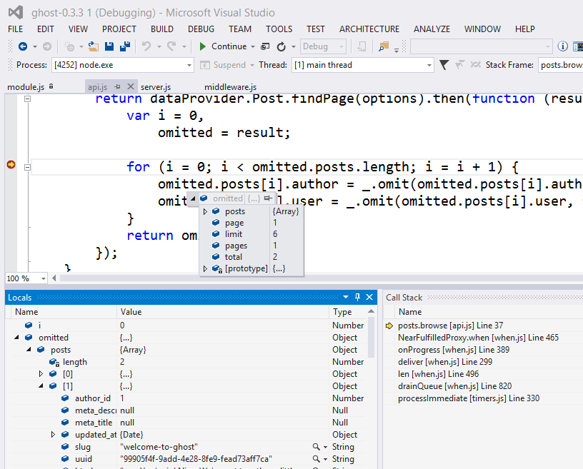 Debugging Session of Ghost in VS with Node Tools for Visual Studio