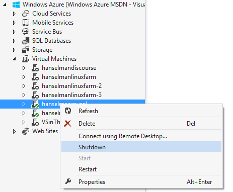 Managing Azure within Visual Studio