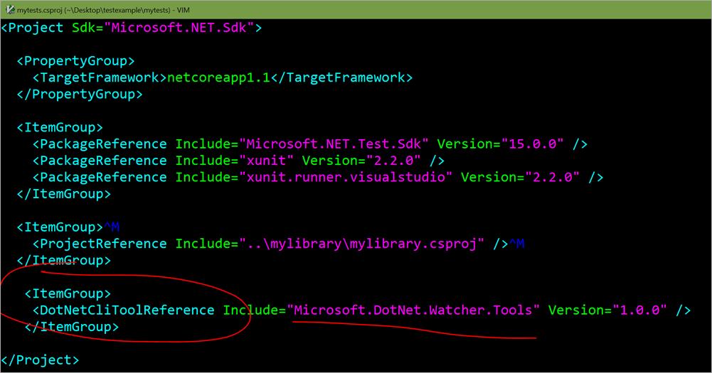 "Adding <DotNetCliToolReference Include=""Microsoft.DotNet.Watcher.Tools"" Version=""1.0.0"" />"