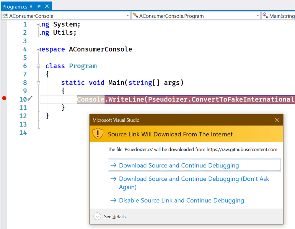 Download Source and Continue Debugging