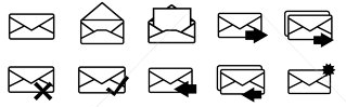 Various Envelopes with arrows superimposed on them