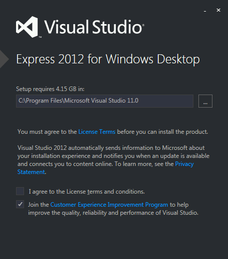 Visual Studio Express 2012 for Windows Desktop