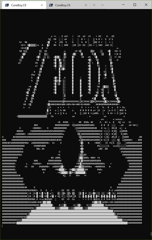 Zelda in a GameBoy Emulator as ASCII Art