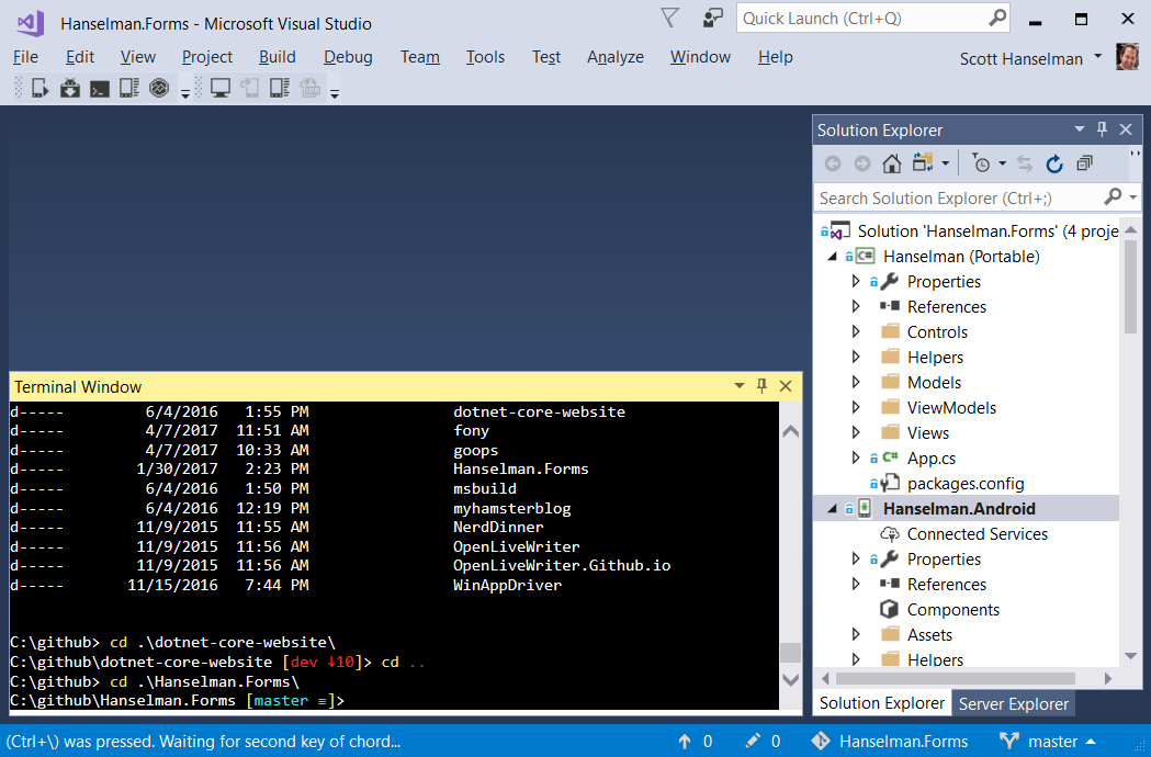 Hey it's a real terminal inside of Visual Studio