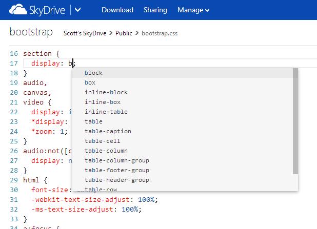 Editable code in SkyDrive
