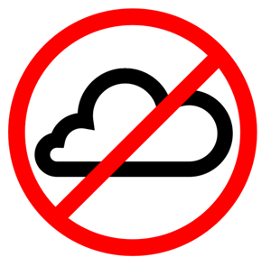 """A cloud with the international """"no"""" symbol over it"""