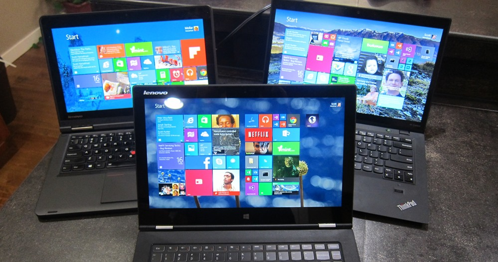 ThinkPad Yoga, X1 Carbon Touch, and Yoga 2 Pro all together