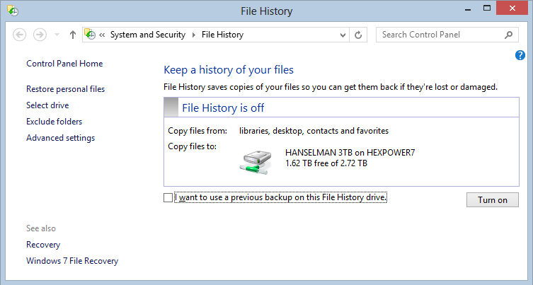 File History from another computer recommends the main HomeGroup machine