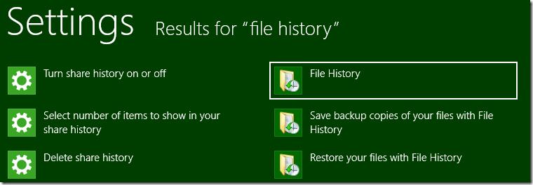 File History in Settings