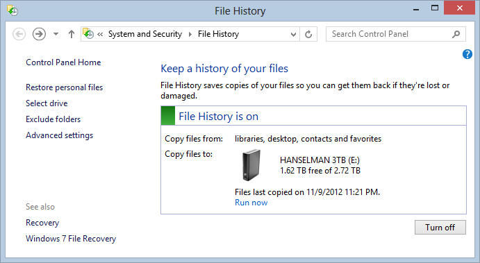 File History is ON