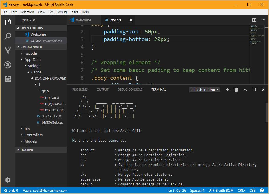 Azure Cloud Shell in VS Code