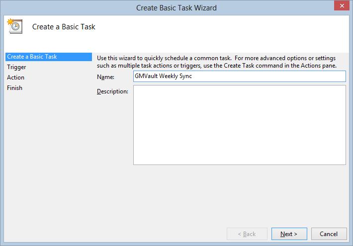 Create Basic Task Wizard - Task Name