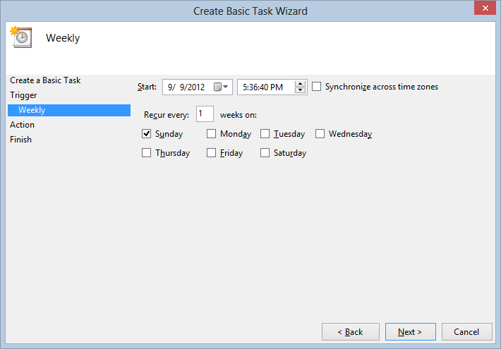 Create Basic Task Wizard - Setting time