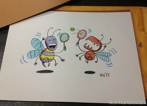 My sons as bugs, by Neil Numberman