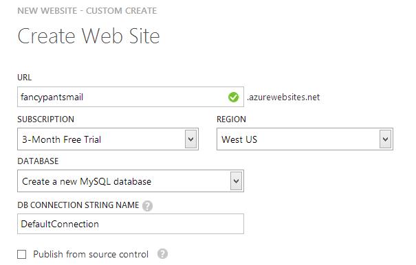 Making a new website with a new MySQL DB