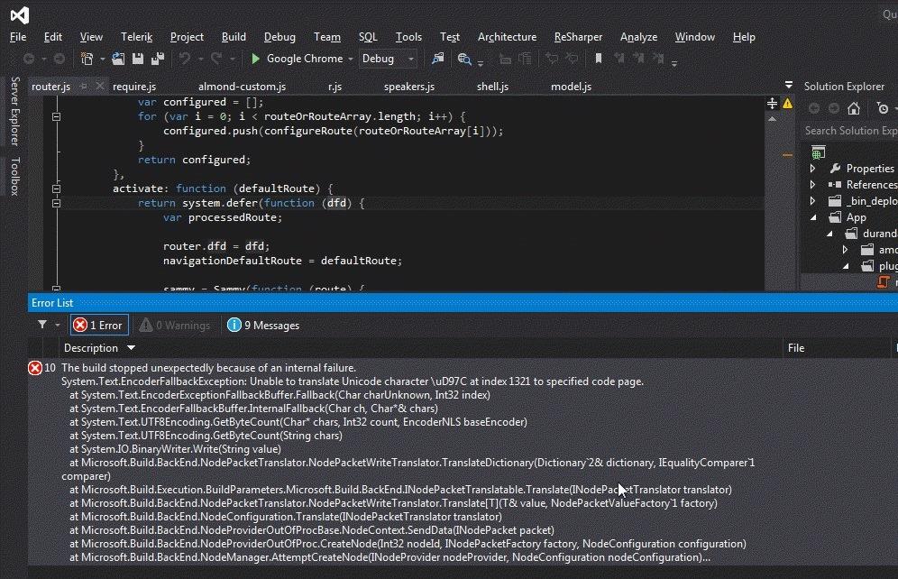 A crazy internal error from Visual Studio