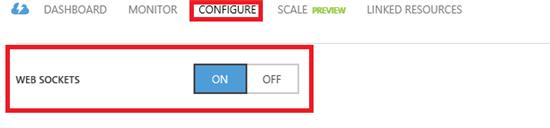 Turn on Websockets in the Azure Portal