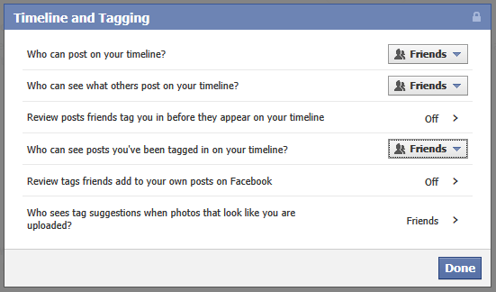 Check your Timeline and Tagging settings in Facebook